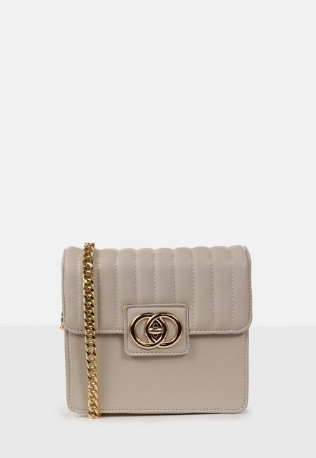 Missguided - Cream Quilted Double Ring Cross Body Bag
