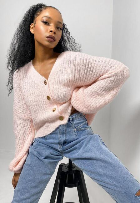 Missguided - Pink Blush Fluffy Textured Knit Cardigan