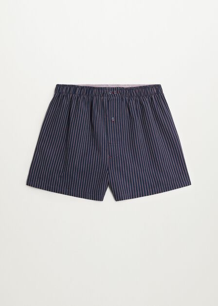 Mango - Navy Striped Cotton Boxer Shorts