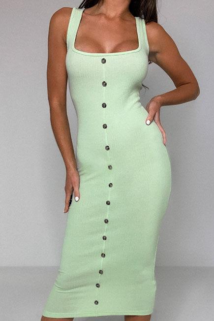Missguided - Green Rib Tortoiseshell Button Midaxi Dress