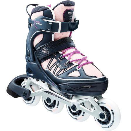 OXELO - EU 35-38  Fit 5 Kids' Inline Fitness Skates, Fluo Pale Peach