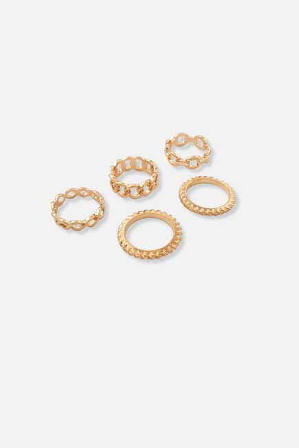 Missguided - Gold Chain Stacked Rings
