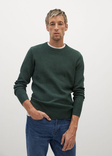 Mango - dark green Structured cotton sweater