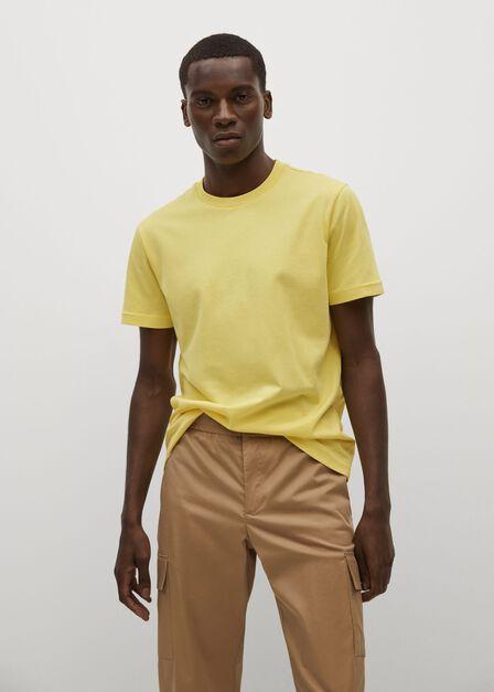 Mango - yellow Sustainable cotton basic T-shirt, Men