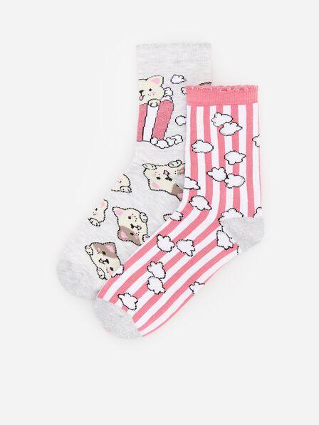 Reserved - Patterned socks 2 pack - Light grey