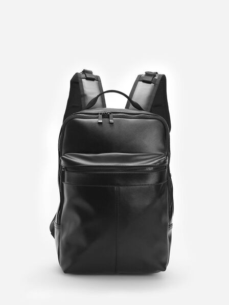 Reserved - Men's Faux Leather Backpack - Black