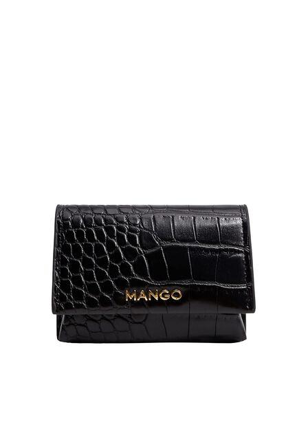 Mango - Black Mini croc-effect purse