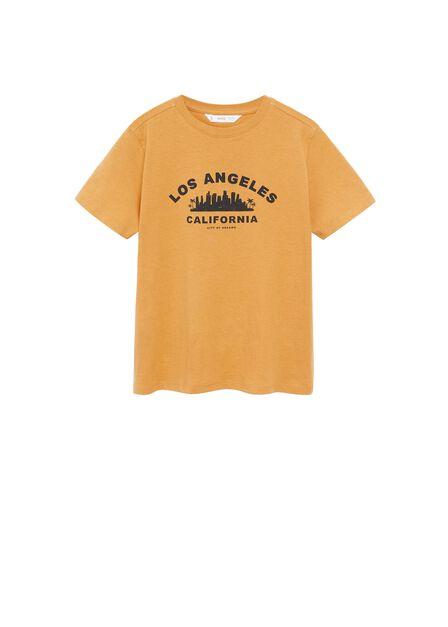 Mango - dark yellow Organic printed cotton t-shirt