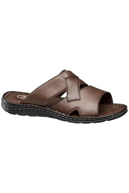 AM SHOE - Brown Criss Cross Slide Sandals, Men