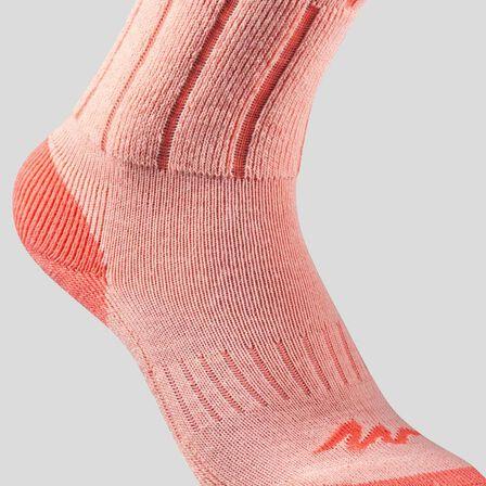 QUECHUA - Children's warm mid hiking socks sh100 warm - coral grey x2 pairs