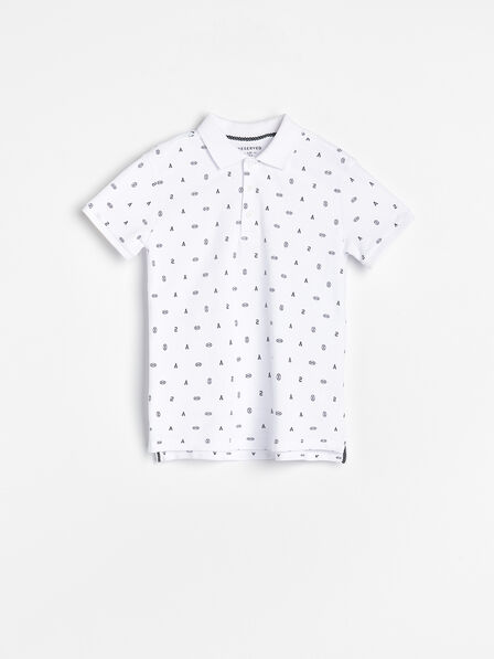 Reserved - White Polo Shirt With A Pattern, Kids Boy