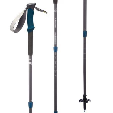 FORCLAZ - Adult 500 Anti-Shock Hiking Pole - Grey/Blue - Dark Grey
