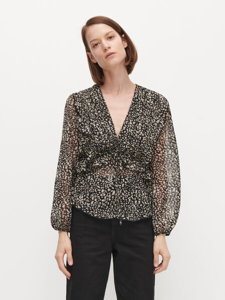 Reserved - Ladies' Patterned Blouse - Multicolor
