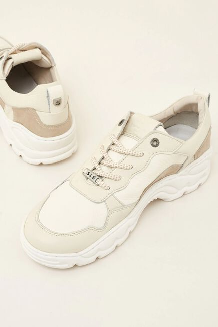 Salsa Jeans - Beige Leather sports trainers