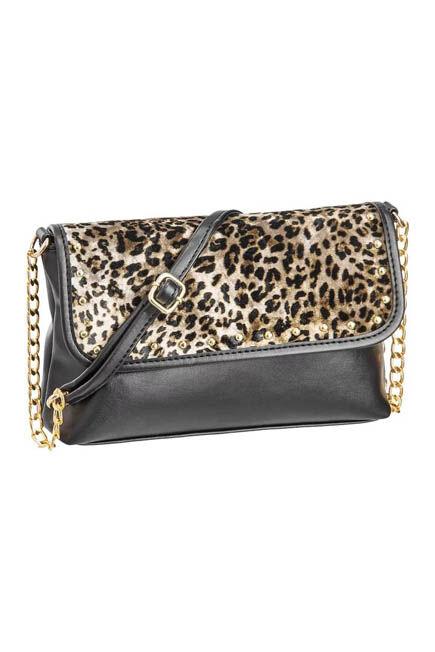 Graceland - Black With Animal Print Pattern Shoulder Bag, Women