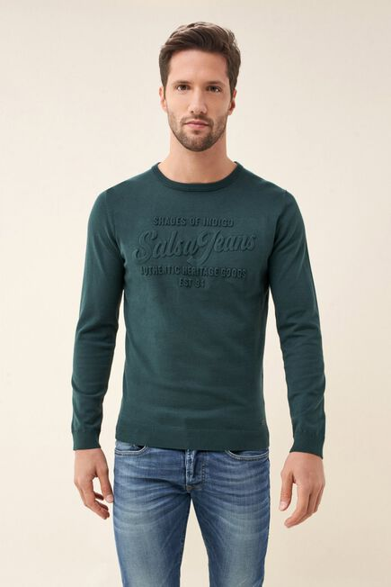 Salsa Jeans - Green Sweater with embossed logo
