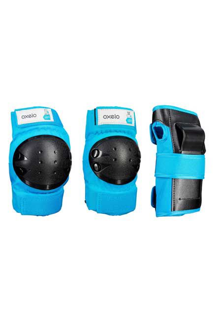 OXELO - Extra Small  Basic Kids' 3-Piece Skating Skateboarding Scooter Protective Gear, Deep Cyan