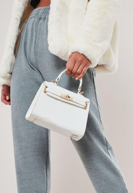 Missguided - White White Croc Effect Mini Handbag