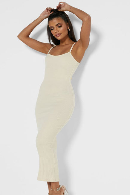 Missguided - Camel Sand Rib Strappy Midi Dress