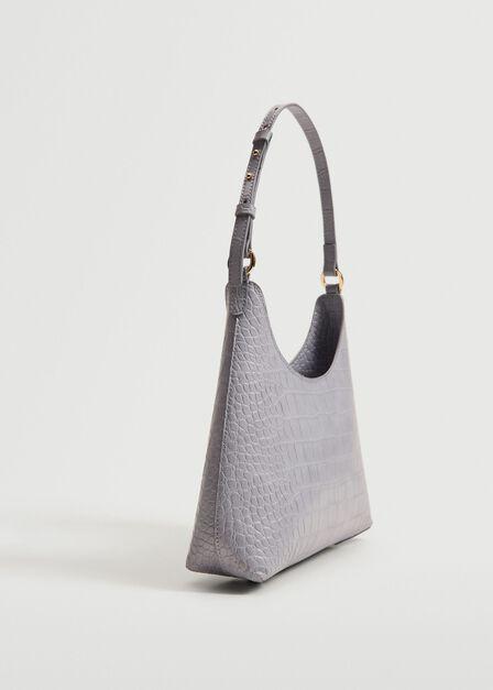 Mango - Lt-Pastel Purple Croc-Effect Baguette Bag, Women
