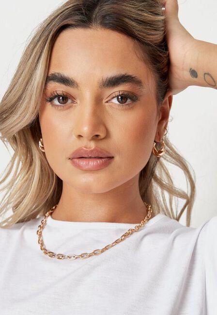 Missguided - Gold Look Round Twist Mini Hoop Earrings