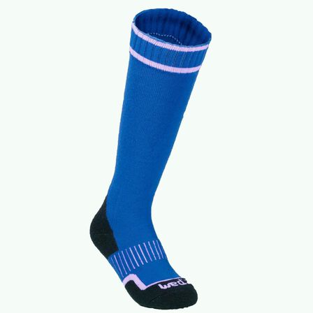 WEDZE - EU 35-38  SKI SOCKS, CHILDREN, SKI SOCKS 100, Cobalt Blue
