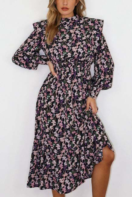 Missguided - Black Floral Shoulder Pad Midi Dress