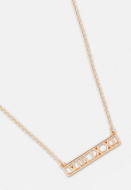 Missguided - Gold Look Roman Numeral Pendant Necklace, Women