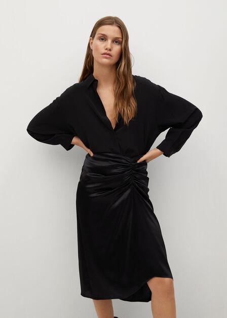 Mango - black Draped satin skirt