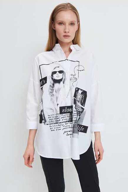 Mohito -  Printed Shirt Eco Aware - White