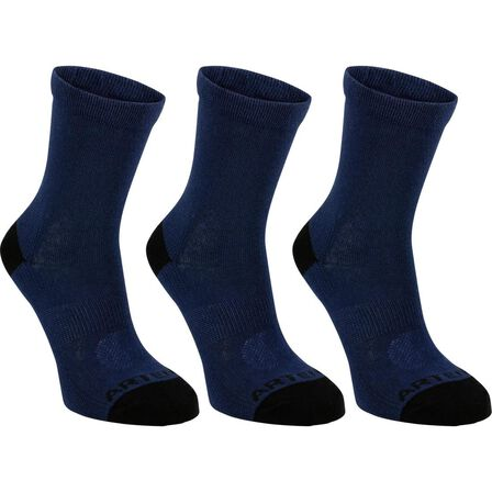 ARTENGO - EU 27-30  Kids' High Tennis Socks Tri-Pack RS 160 Navy, Navy Blue