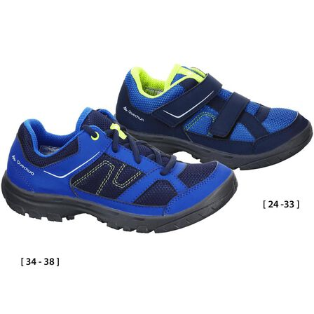 QUECHUA - EU 34  Kid's Hiking Shoes MH100 JR  baby size 5 to adult size 5, Blue