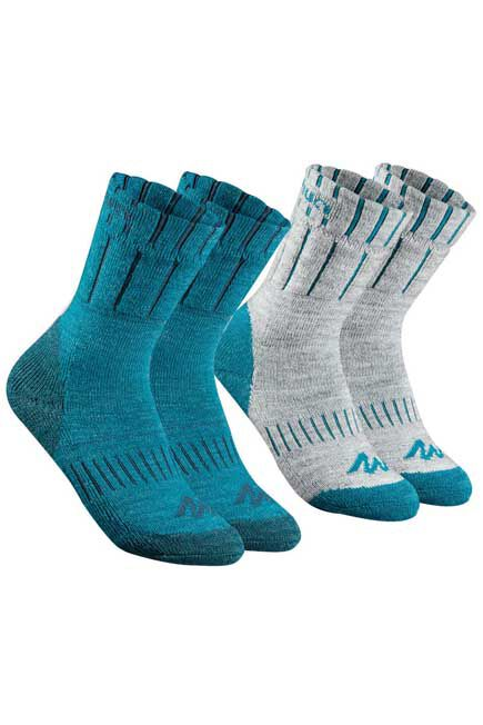 QUECHUA - Children's Mid Hiking Socks SH100 Warm x2 Pairs- Blue/Grey, EU 27-30