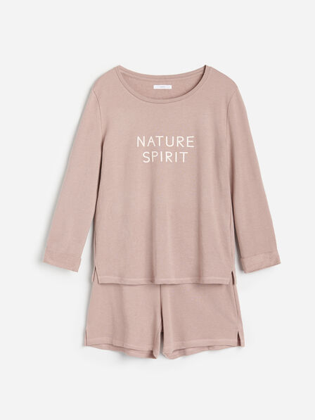 Reserved - Ladies' Sweatshirt pajamas with shorts - Brown