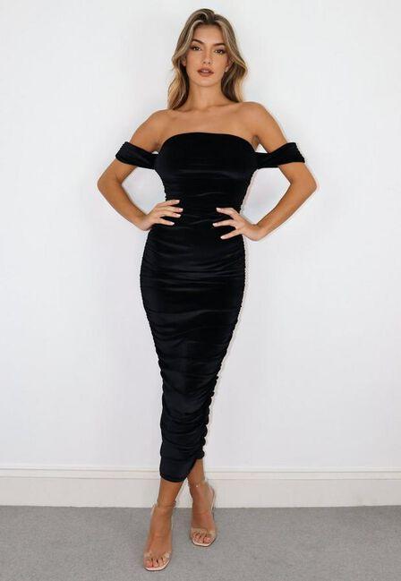 Missguided - Black Velvet Bardot Ruched Midaxi Dress