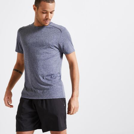 DOMYOS - 2XL  Technical Fitness T-Shirt 100 - Mottled, Steel Grey