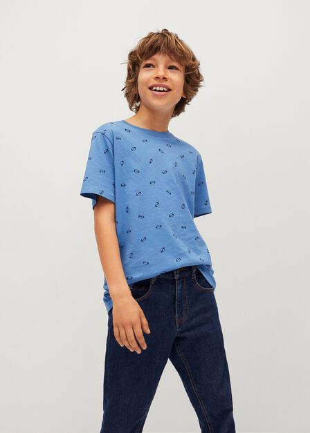Mango - Medium Blue Boats Printed Cotton T-Shirt, Kids Boy