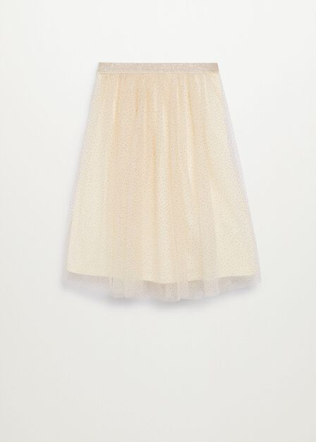 Mango - light beige Tulle midi skirt