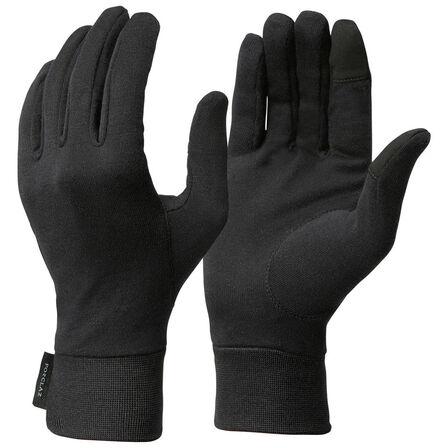 FORCLAZ - Large  Black silk Trek 500 mountain trekking liner gloves, Black