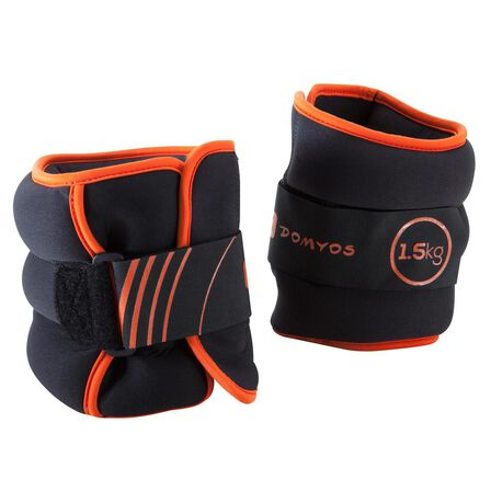 NYAMBA - 1.5 Kg  Tone SoftBell Adjustable Wrist and Ankle Weights Twin-Pack 1.5 kg, Orange
