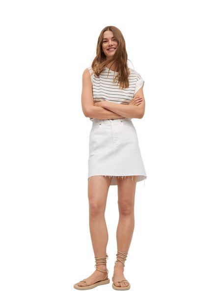 Mango - white Denim miniskirt with frayed hem, Women