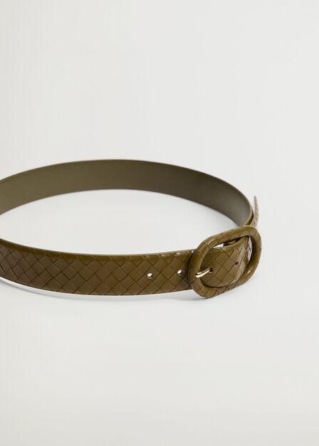 Mango - beige - khaki Braided buckle belt, Women