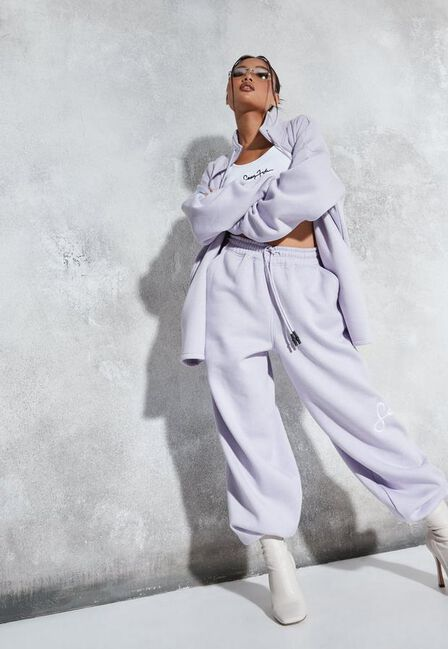 Missguided - Lilac Sean John X Missguided Lilac Zip Front Oversized Sweatshirt