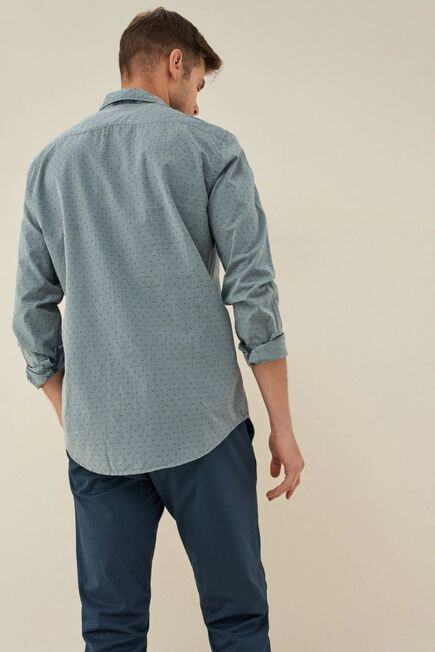 Salsa Jeans - Blue Slim fit shirt with microprint