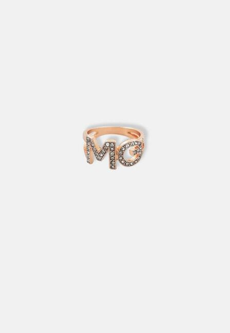 Missguided - Gold MG Logo Crystal Ring