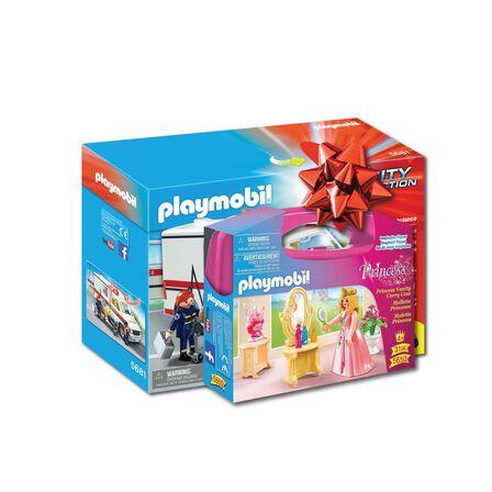 PLAYMOBIL - Playmobil Rescue Ambulance Playset + Playmobil Princess Vanity Carry Case [Bundle]