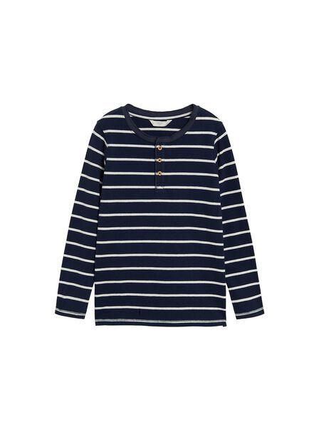 Mango - navy Organic cotton Henley T-shirt