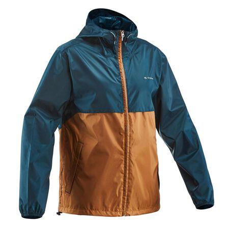 QUECHUA - Large  Men's country walking rain coat - NH100 Raincut Full Zip, Dark Petrol Blue