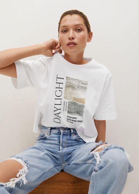 Mango - white Printed cotton-blend T-shirt, Women