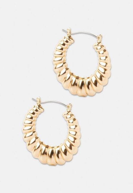 Missguided - Gold Gold Look Smooth Textured Hoops